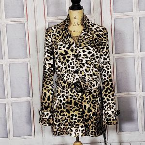 Cache animal print belted trench coat Large